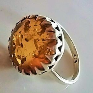 Jewelry - Baltic amber ring, silver .925 size 7